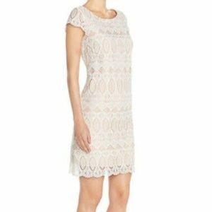 Eliza J Scalloped white Lace Overlay Sheath Dress